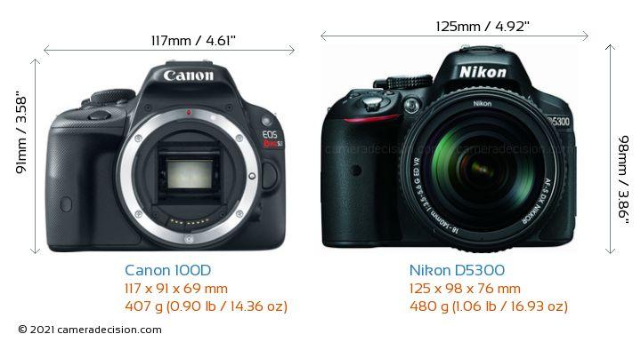 Canon 100D vs Nikon D5300 Camera Size Comparison - Front View