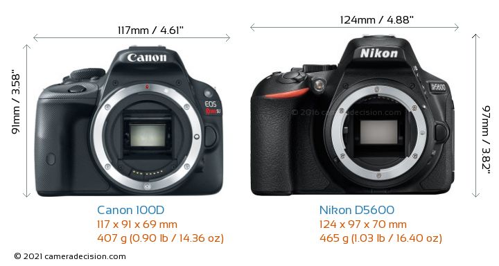 Canon 100D vs Nikon D5600 Camera Size Comparison - Front View