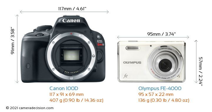 Canon 100D vs Olympus FE-4000 Camera Size Comparison - Front View