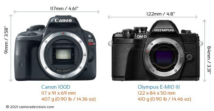 Canon 100D vs Olympus E-M10 MIII Camera Size Comparison - Front View