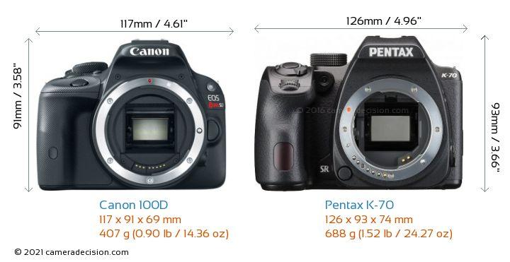 Canon 100D vs Pentax K-70 Camera Size Comparison - Front View