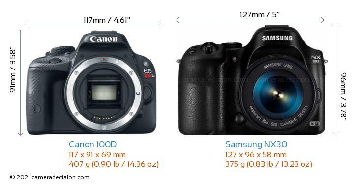 Canon 100D vs Samsung NX30 Camera Size Comparison - Front View