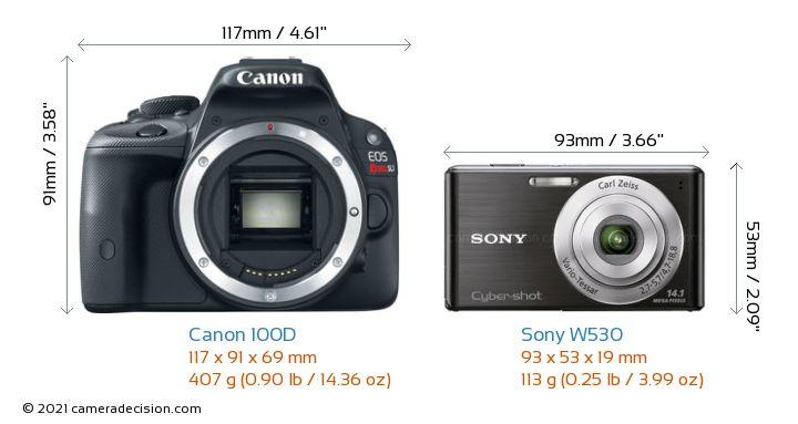 Canon 100D vs Sony W530 Camera Size Comparison - Front View