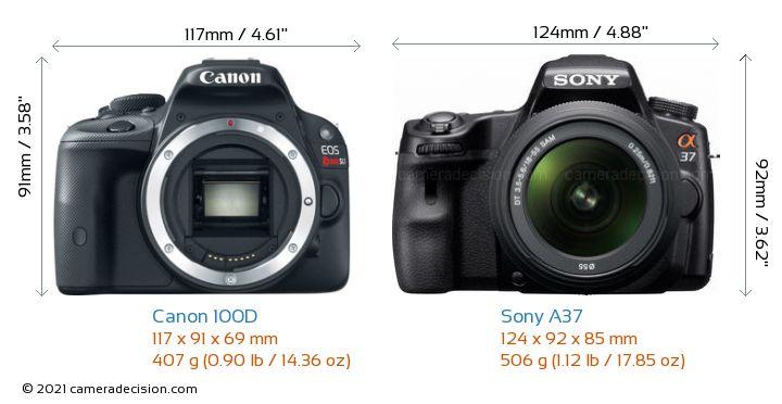Canon 100D vs Sony A37 Camera Size Comparison - Front View
