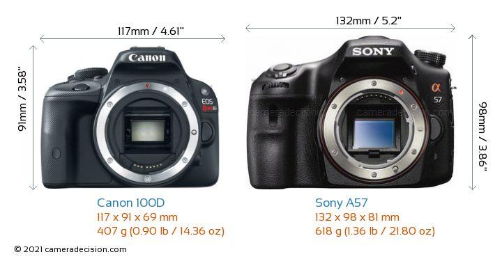 Canon 100D vs Sony A57 Camera Size Comparison - Front View