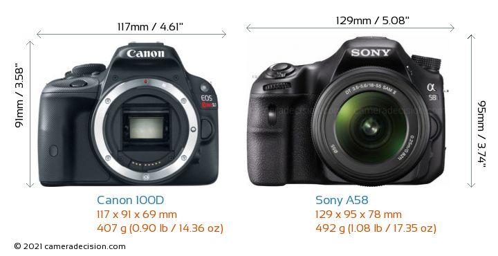 Canon 100D vs Sony A58 Camera Size Comparison - Front View