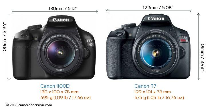 Canon 1100D vs Canon T7 Camera Size Comparison - Front View