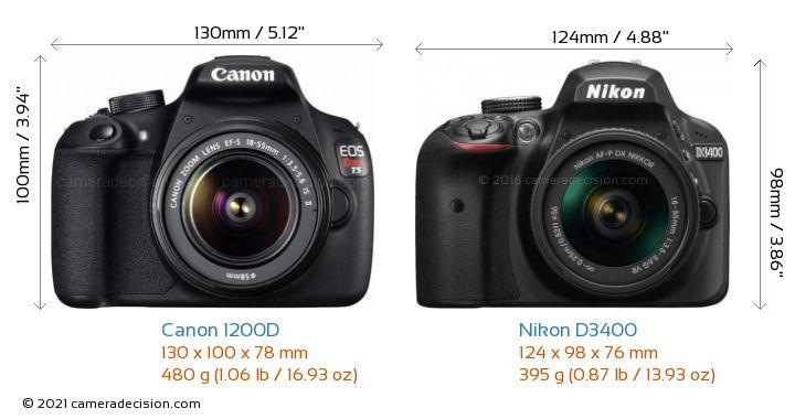 Canon 1200D vs Nikon D3400 Camera Size Comparison - Front View