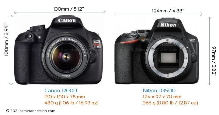 Canon 1200D vs Nikon D3500 Camera Size Comparison - Front View