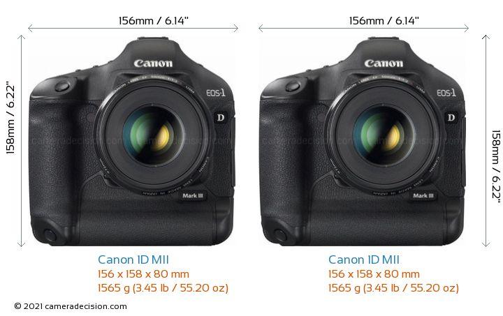 Canon 1D MII vs Canon 1D MII Camera Size Comparison - Front View