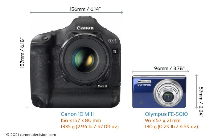 Canon 1D MIII vs Olympus FE-5010 Camera Size Comparison - Front View