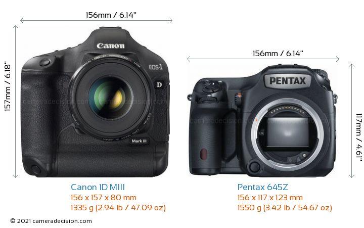 Canon 1D MIII vs Pentax 645Z Camera Size Comparison - Front View
