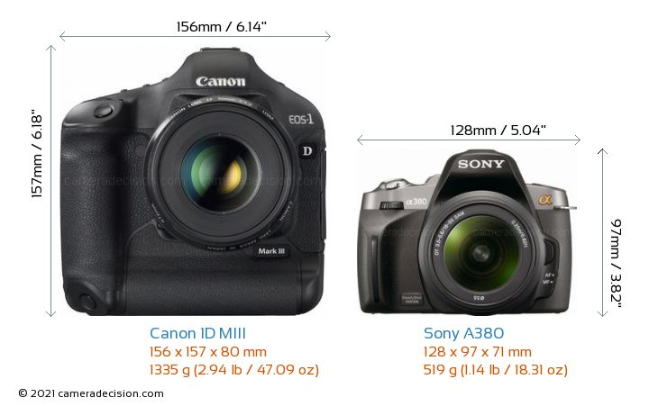 Canon 1D MIII vs Sony A380 Camera Size Comparison - Front View