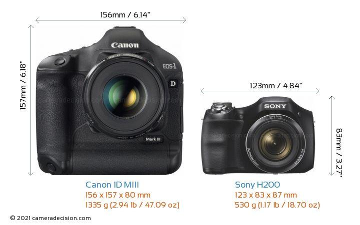 Canon 1D MIII vs Sony H200 Camera Size Comparison - Front View