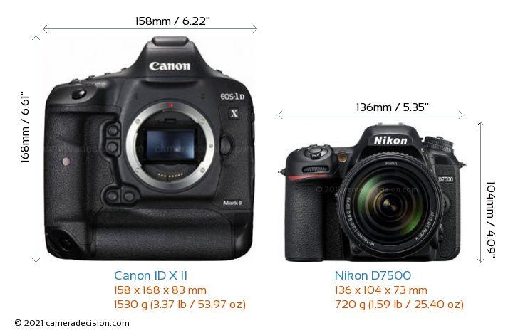 Canon 1D X II vs Nikon D7500 Camera Size Comparison - Front View