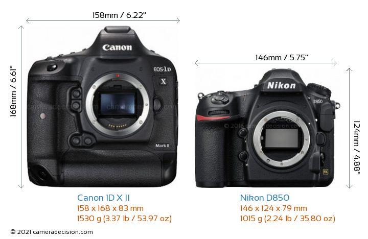 Canon 1D X II vs Nikon D850 Camera Size Comparison - Front View