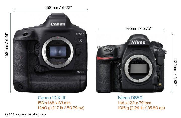 Canon 1D X III vs Nikon D850 Camera Size Comparison - Front View