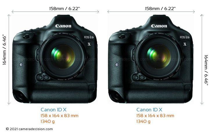 Canon 1D X vs Canon 1D X Camera Size Comparison - Front View