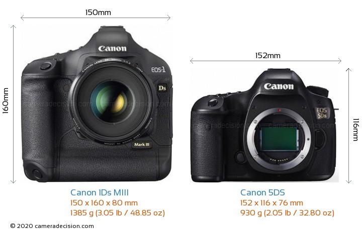 Canon 1Ds MIII vs Canon 5DS Camera Size Comparison - Front View