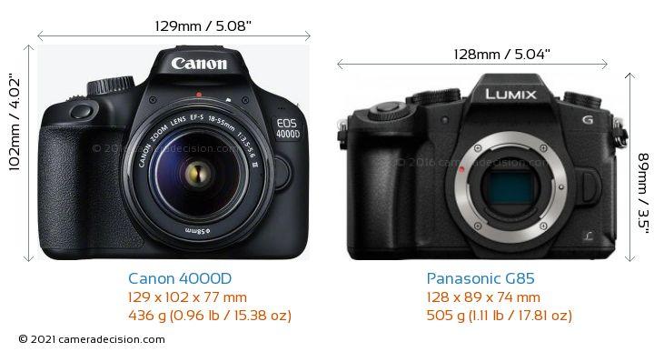 Canon 4000D vs Panasonic G85 Camera Size Comparison - Front View