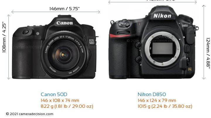 Canon 50D vs Nikon D850 Camera Size Comparison - Front View