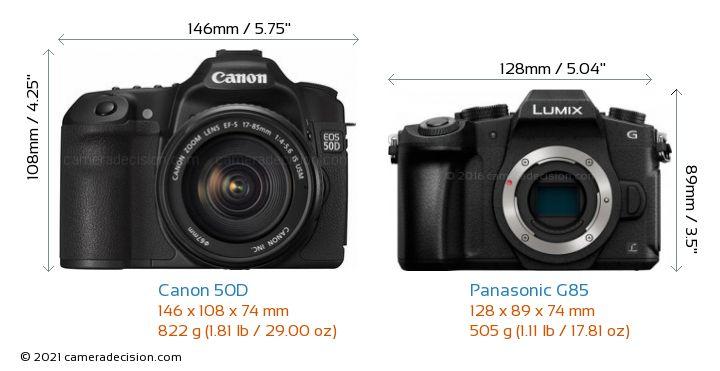 Canon 50D vs Panasonic G85 Camera Size Comparison - Front View