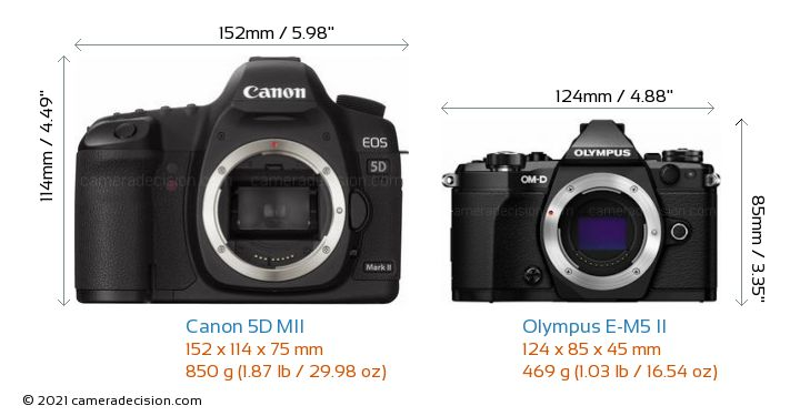 canon 5d mii vs olympus e m5 ii size comparison. Black Bedroom Furniture Sets. Home Design Ideas