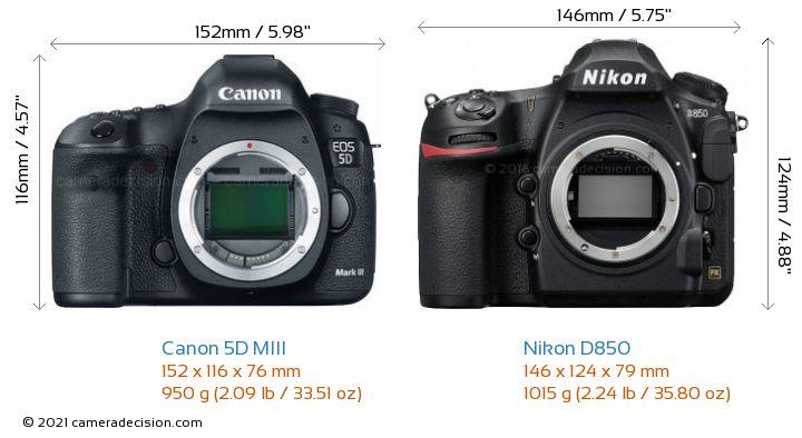 Canon 5D MIII vs Nikon D850 Camera Size Comparison - Front View