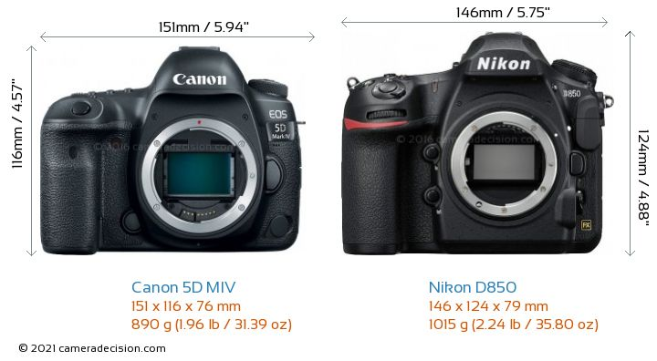 Canon 5D MIV vs Nikon D850 Camera Size Comparison - Front View
