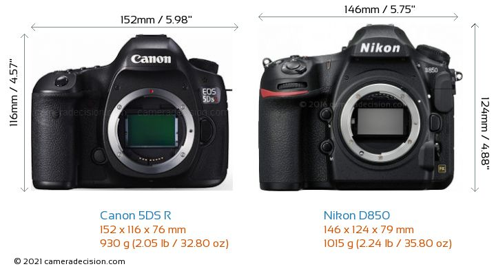 Canon 5DS R vs Nikon D850 Camera Size Comparison - Front View