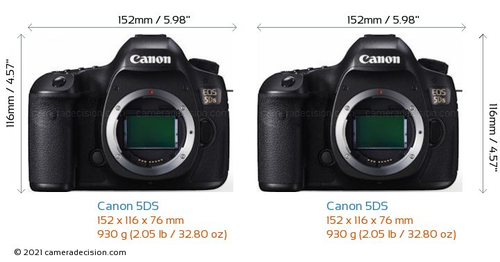 Canon 5DS vs Canon 5DS Camera Size Comparison - Front View