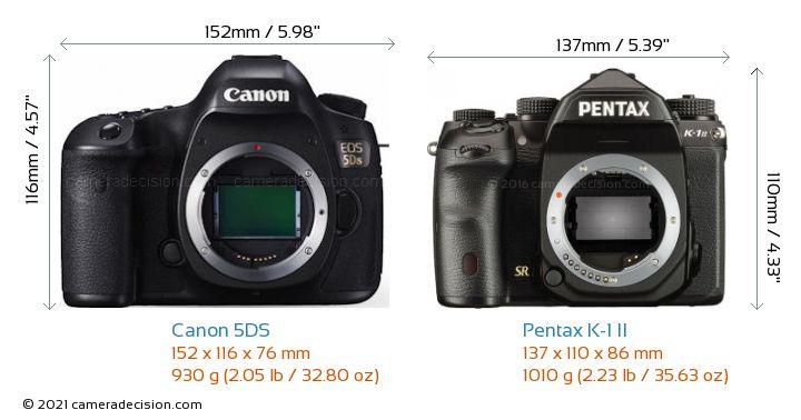 Canon 5DS vs Pentax K-1 II Camera Size Comparison - Front View