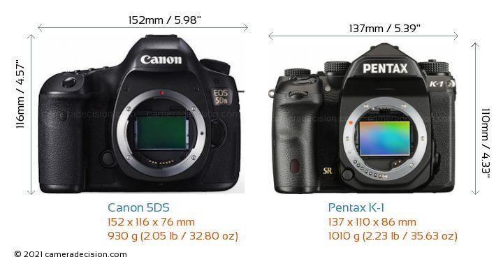 Canon 5DS vs Pentax K-1 Camera Size Comparison - Front View