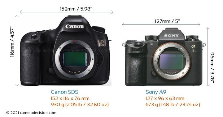 Canon 5DS vs Sony A9 Camera Size Comparison - Front View