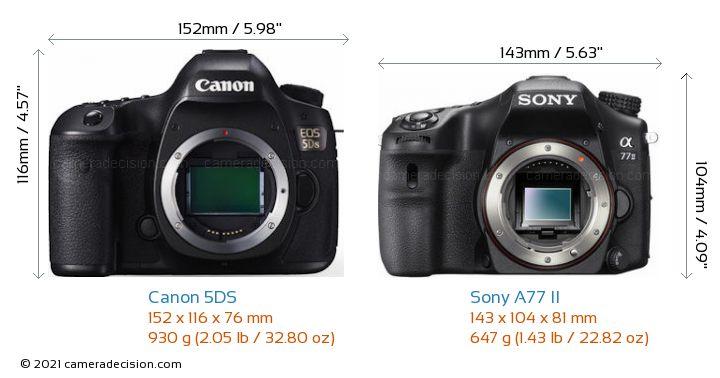 Canon 5DS vs Sony A77 II Camera Size Comparison - Front View