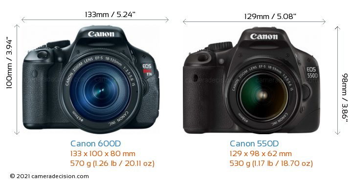 Canon 600D vs Canon 550D Camera Size Comparison - Front View