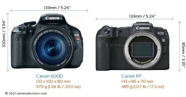 Canon 600D vs Canon RP Camera Size Comparison - Front View