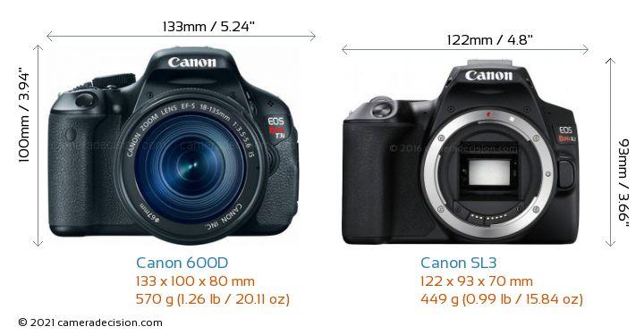 Canon 600D vs Canon SL3 Camera Size Comparison - Front View