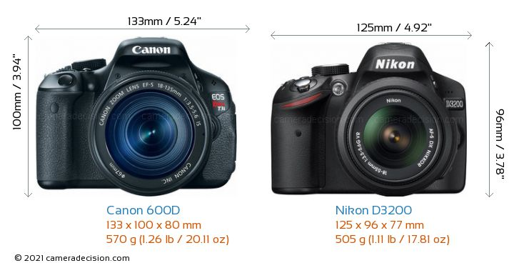 Canon 600D vs Nikon D3200 Camera Size Comparison - Front View
