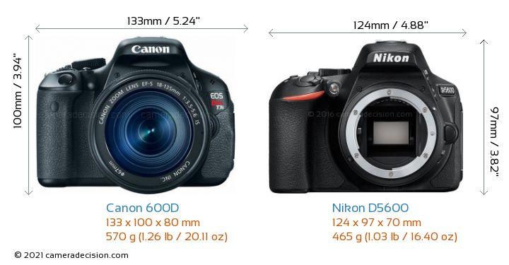Canon 600D vs Nikon D5600 Camera Size Comparison - Front View