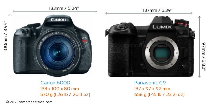 Canon 600D vs Panasonic G9 Camera Size Comparison - Front View