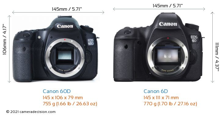 canon 60d vs canon 6d camera size comparison front view