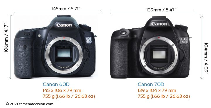 Canon 60D vs Canon 70D Camera Size Comparison - Front View