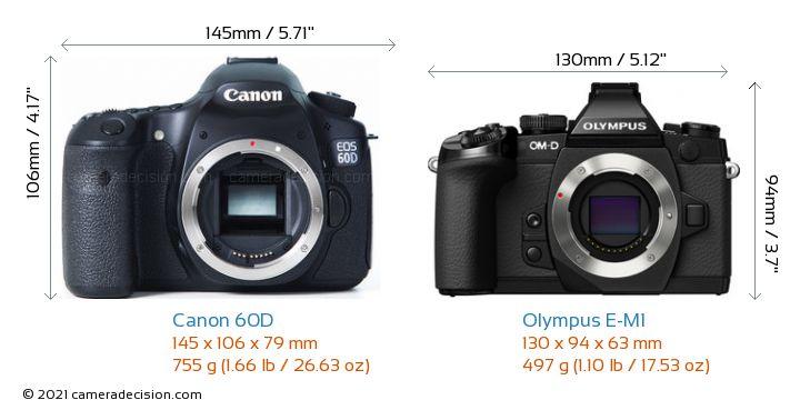 Canon 60D vs Olympus E-M1 Camera Size Comparison - Front View
