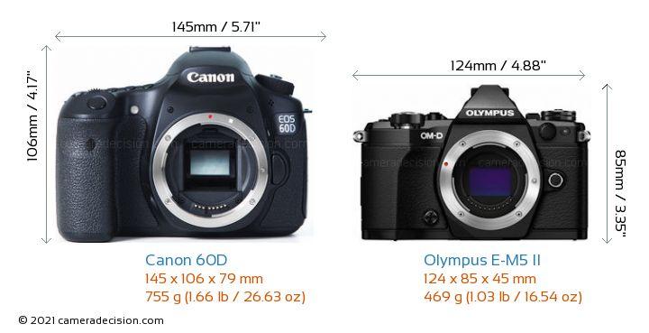 Canon 60D vs Olympus E-M5 II Camera Size Comparison - Front View