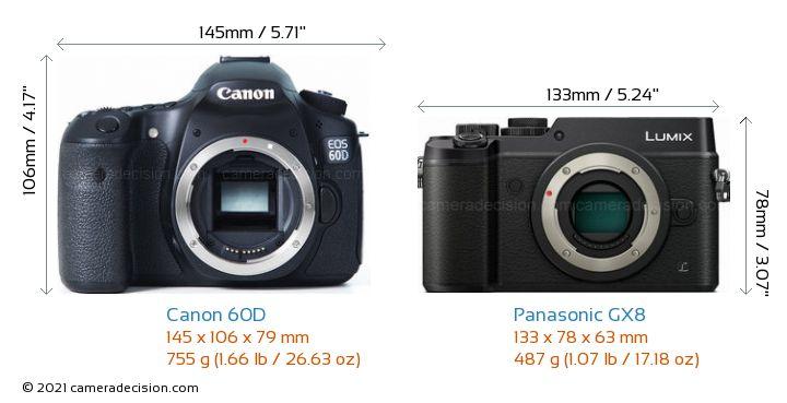 Canon 60D vs Panasonic GX8 Camera Size Comparison - Front View