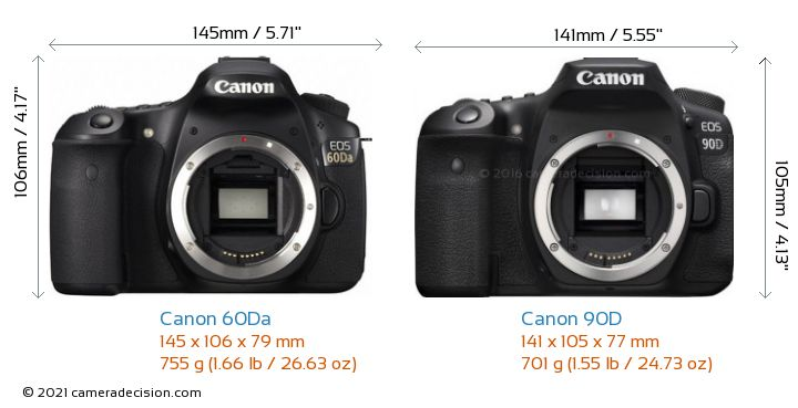 Canon 60Da vs Canon 90D Camera Size Comparison - Front View