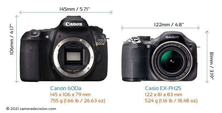Canon 60Da vs Casio EX-FH25 Camera Size Comparison - Front View