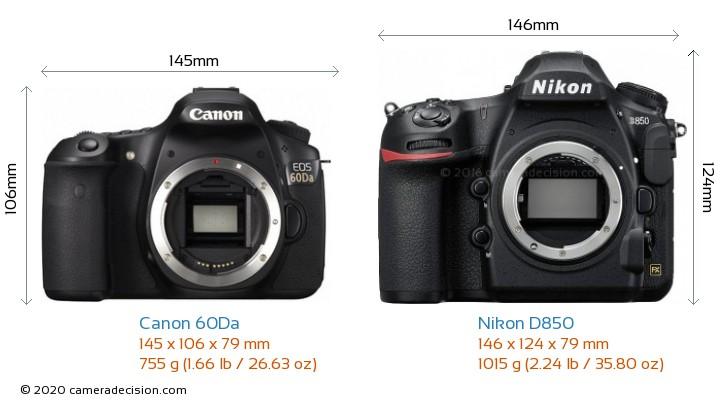 Canon 60Da vs Nikon D850 Camera Size Comparison - Front View