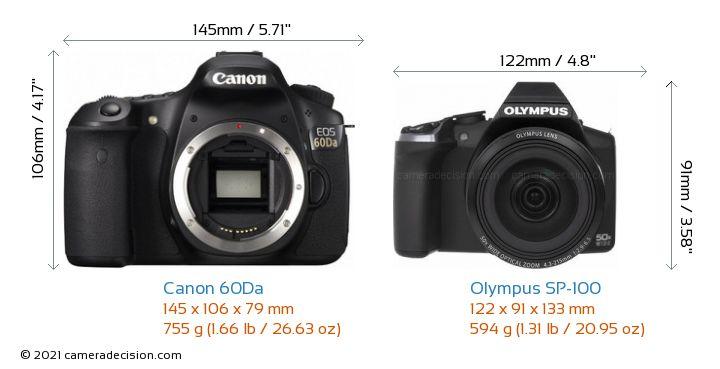 Canon 60Da vs Olympus SP-100 Camera Size Comparison - Front View